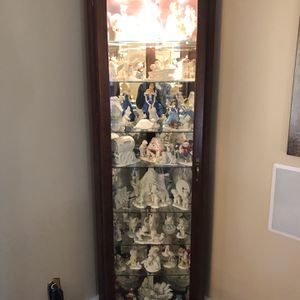 Beautiful Cherry Wood Curio Corner cabinet with Collectible Department 56 Snowbabies. Snow Babies for Sale in Cumberland, RI
