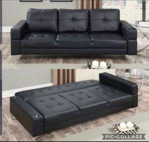 Futon black leather material for Sale in Pico Rivera, CA