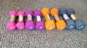Complete set of brand new CAP neoprene dumbbells 3 5 8 10 for Sale in Medford, MA