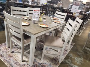 White/Light Brown 7 Piece Dining Table Set for Sale in Fountain Valley, CA
