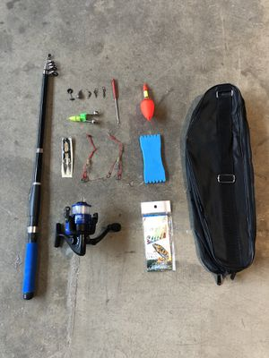 Fishing Pole / Rod And Reel, Complete with weights, hooks, lures, scissors, bag for Sale in Los Angeles, CA