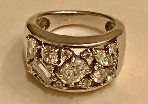 Heavy White Gold Overlay 925 Sterling Silver with CZ Stones for Sale in Baldwin Park, CA