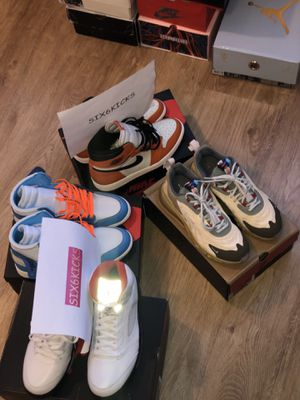 "Travis Scott Air Max 270 React ENG ""Cactus Jack"" & ""Reverse Shattered Backboard"" Air Jordan 1/ Jordan 5 ""Fire Red""/ Jordan 1 x off white ""UNC"" for Sale in Oakland, CA"