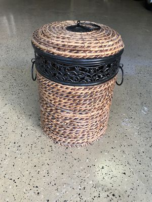 Metal and wicker storage container. for Sale in San Antonio, TX