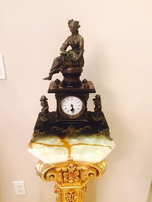 Bronze and marble clock. Priced to sell. Check my other items. #statue #sculpture #bust #bronze #italian #french #antique #decorative #rococo #per for Sale in Los Angeles, CA