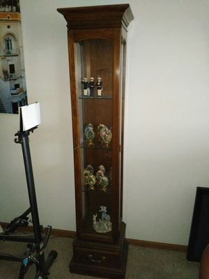 Real wood Ethan Allen curio cabinet with glass shelves for Sale in St. Louis, MO