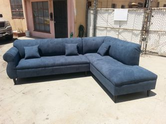 NEW 9X7FT ANNAPOLIS STELL BLUE FABRIC SECTIONAL CHAISE for Sale in Las Vegas,  NV