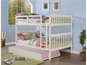 Bunk bed full on full mission style with single pullout bed $649 original price for Sale in West Covina, CA