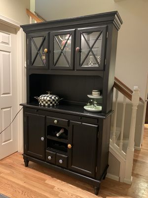 Solid Wood Black Hutch Kitchen Queen for Sale in Redmond, WA