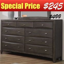 """63"""" Dresser with Nine Storage Drawers in Coco Grey Finish for Sale in Diamond Bar,  CA"""