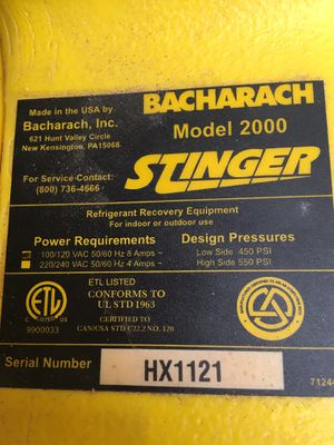 Bacharach model 2000 stinger Freon recovery system about 1 year old only used 4 times for Sale in Biscayne Park, FL