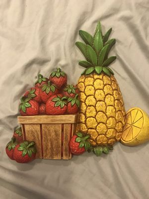 Vintage kitchen pineapple strawberry fruit wall hanging plaque for Sale in Fresno, CA