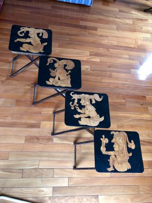 4 WOOD & LEATHER TRAY TABLES for Sale in Fairfax, VA