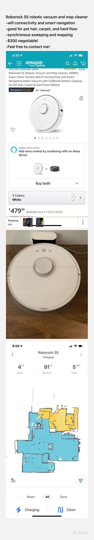 Roborock S5 robotic vacuum and mop cleaner for Sale in Los Angeles, CA