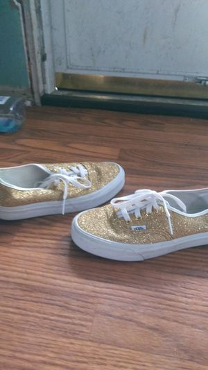 White and gold glitter vans for Sale in Columbus, OH