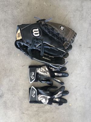 Teenager softball glove and batting gloves for Sale in Avondale, AZ