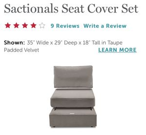 LOVESAC Sactional seat (1) & side (1) with taupe padded velvet covers included for Sale in Uniontown, PA