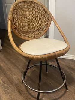 Vintage Rattan & Leather Swivel Chair for Sale in Portland,  OR