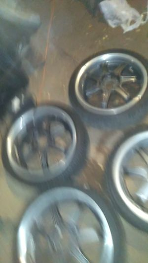 4 black rims with tires for Sale in Portland, OR