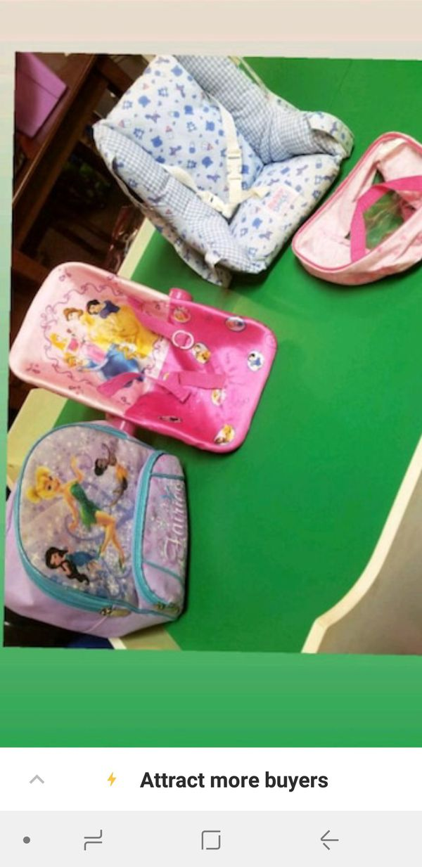 doll car seats and bags