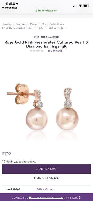 Rose Gold Pink Pearl & Diamond Stud Earrings 14k for Sale in Henderson, NV