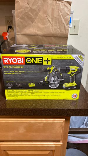 New in box ryobi one + 18 v 2 peice starter kit 1/2 in. 2speed drill/driver circular saw 4,600 rpm comes with 2portable chargers 1 wall & tool bag for Sale in New Haven, CT
