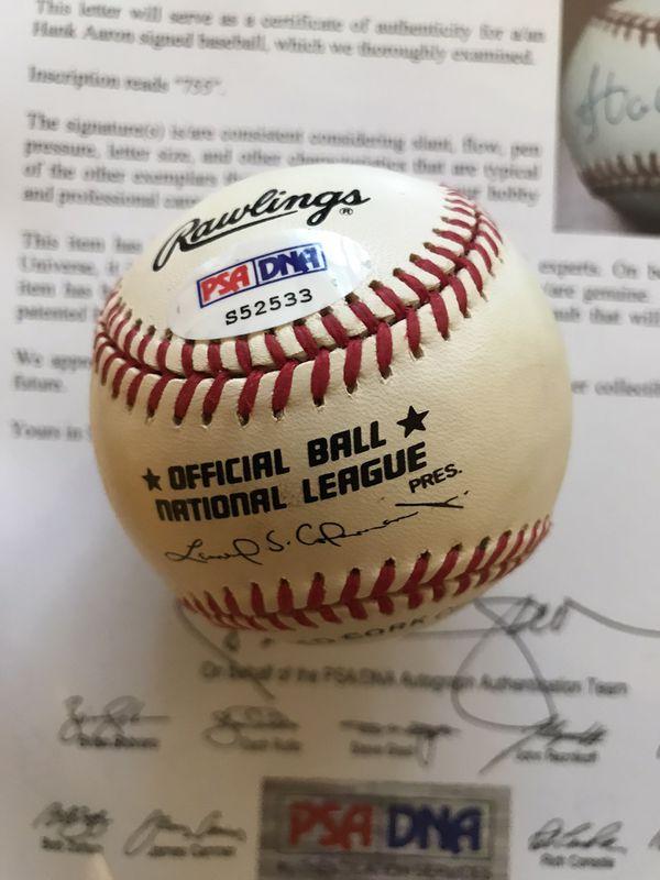 Hank Aaron Signed Vintage Baseball PSA Certified