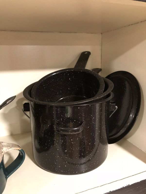 Camping pots, pans, plates, cups
