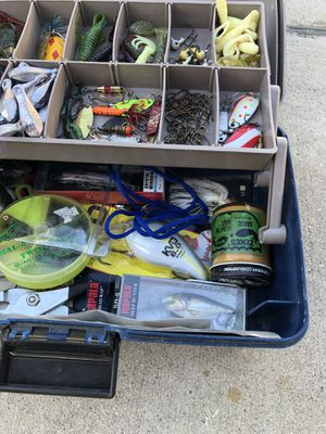 Fishing tackle box with gear rapala lures Weights etc.. for Sale in San Bernardino, CA