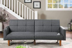 FUTON SOFA GRAY POLYFIBER LINEN MID CENTURY MODERN BED / SILLON CAMA GRIS for Sale in North Hollywood, CA