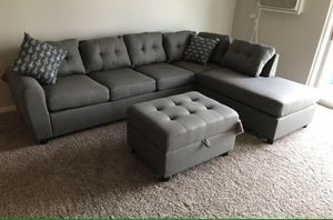 Grey Sectional Sofa with Reversible Chaise!! Brand New Free Delivery for Sale in Chicago, IL