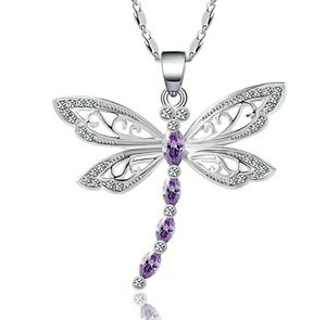 (Shipped Only) Purple Clavicle Chain Fashion Charms CZ Dragonfly Necklace for Sale in Wichita, KS