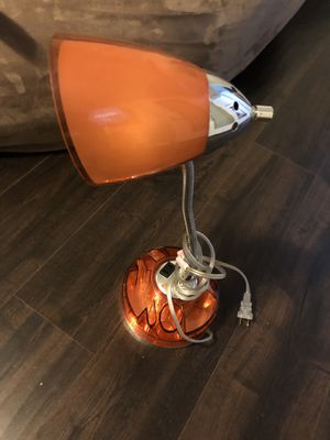 Orange Lamp with Organizer and plug at base for Sale in Tacoma, WA