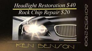 Windshield rock chip repair and Headlight restoration for Sale in Draper, UT