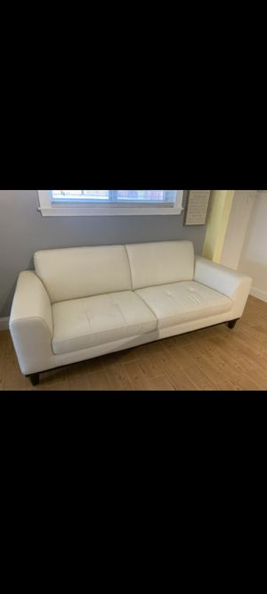 Off white leather couch almost NEW! for Sale in Miami, FL