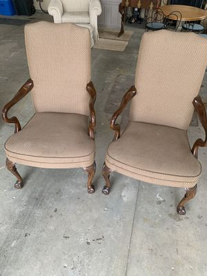 Beautiful high back chairs mint condition. Solid walnut arms and legs. Upholstery is beautiful. for Sale in Mason City, IA