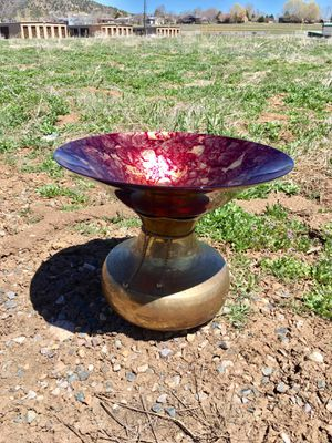 Bird Bath or Feeder for your spring and summer garden! Plum and gold Glass Dish brass stand for Sale in Pagosa Springs, CO