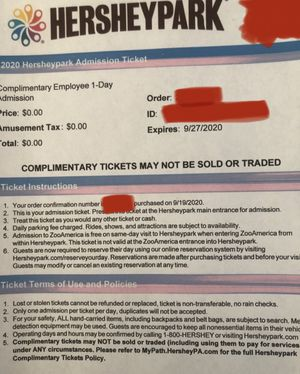 3 Hersheypark tickets for Sale in CORNWALL Borough, PA