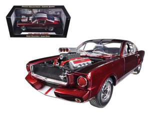 1965 Ford Shelby Mustang GT350R With Racing Engine Metallic Red With Silver Stripes 1/18 Diecast Car Model by Shelby Collectibles for Sale, used for sale  Dover, NJ