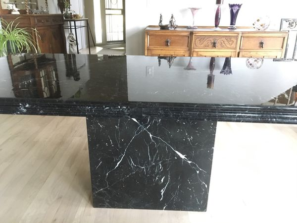 Italian marble pedestal dining table