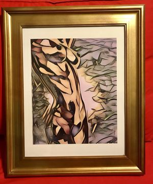 "9""x12"" abstract Woman's figure/ nude/ naked body wall art Gold/brown framed to 15""x18"" for Sale in Chicago, IL"