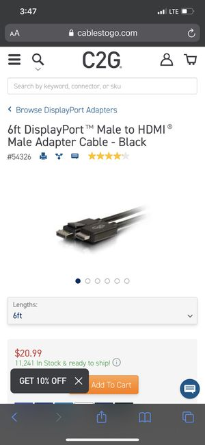 DisplayPort male to hdmi male adapter 6ft for Sale in Littleton, CO