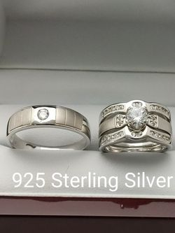 New with tag Solid 925 Sterling Silver HIS & HER WEDDING Ring trio Set size 9/10/11/12 and 5/6/7/8/9 $250 set OR BEST OFFER ** FREE DELIVERY!!!📦🚚 ** for Sale in Phoenix,  AZ