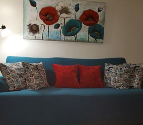 Teal Couch With Pillow, Flower Painting for Sale in Belle Isle,  FL
