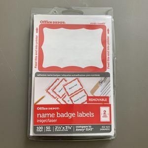 Office Depot Name Badge Labels, 100 Badges for Sale in Fresno, CA