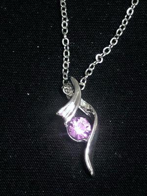 Sterling Silver Necklace Purple CZ for Sale in Las Vegas, NV