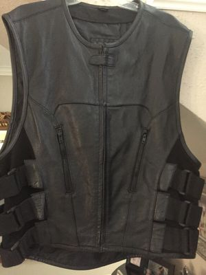 Large Assault Motorcycle Leather Vest for Sale in Spring, TX