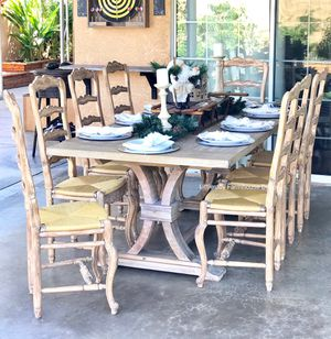 9 Pieces Gorgeous Rustic Farmhouse Dining Table Set for Sale in West Covina, CA