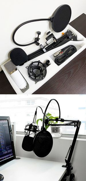 New, $35 Condenser Microphone Kit Studio Recording w/ Filter Boom Arm Stand Shock Mount for Sale in Whittier, CA