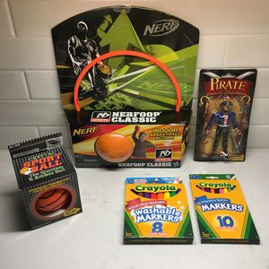 ALL for $5: NEW SEALED Kids Toys Bundle Nerf Basketball & Hoop, Sport Crystal Ball, Crayola Markers & Pirate Character Toy for Sale in Austin, TX
